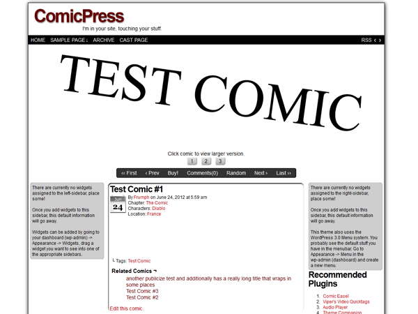 Screenshot of ComicPress, by Frumph